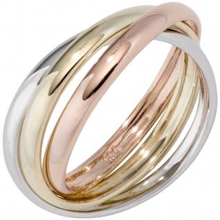 Damen Ring 3-reihig 585 Gelbgold Weißgold Rotgold tricolor dreifarbig Goldring