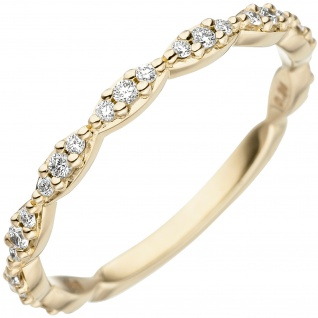 Damen Ring 585 Gold Gelbgold 27 Diamanten Brillanten Goldring Diamantring
