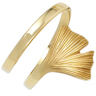 Damen Ring Ginko Ginkgo offen breit 375 Gold Gelbgold teil matt Goldring