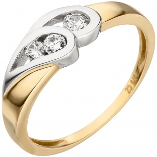 Damen Ring 375 Gold Gelbgold bicolor 3 Zirkonia Goldring