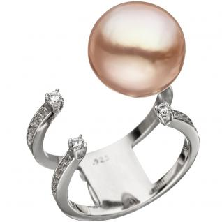 Damen Ring offen 925 Silber mit Edison Süßwasser Perle und Zirkonia Perlenring