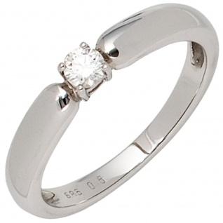 Damen Ring 585 Gold Weißgold 1 Diamant Brillant 0, 16ct. Diamantring Weißgoldring