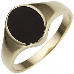 Damen Ring 585 Gold Gelbgold 1 Onyx oval Goldring