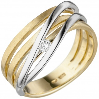 Damen Ring 585 Gold Gelbgold Weißgold bicolor teil matt 1 Diamant Brillant