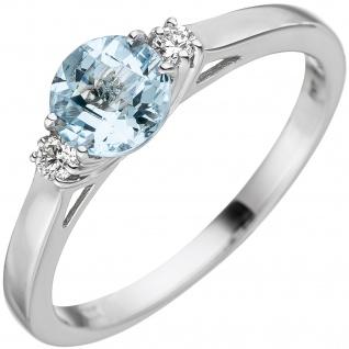 Damen Ring 585 Weißgold 1 Aquamarin hellblau blau 2 Diamanten Brillanten