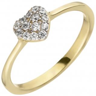 Damen Ring Herz 375 Gold Gelbgold 14 Zirkonia Goldring Herzring