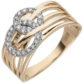 Damen Ring breit 585 Gold Gelbgold 25 Diamanten Brillanten