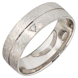 Partner Ring 925 Sterling Silber rhodiniert eismatt 1 Zirkonia Silberring