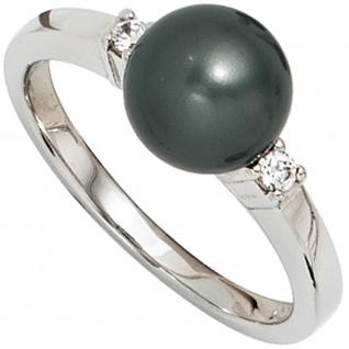 Damen Ring 925 Sterling Silber rhodiniert 2 Zirkonia Perlenring Silberring
