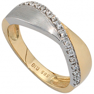 Damen Ring 585 Gold Gelbgold Weißgold bicolor matt 16 Diamanten Brillanten