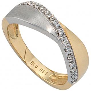 Damen Ring 585 Gold Gelbgold Weißgold bicolor matt 16 Diamanten Brillanten