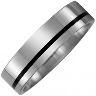 Partner Ring aus Titan mit Keramik schwarz Partnerring bicolor