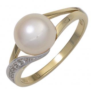 Damen Ring 585 Gold Gelbgold 1 Süßwasser Perle 6 Diamanten Brillanten Perlenring