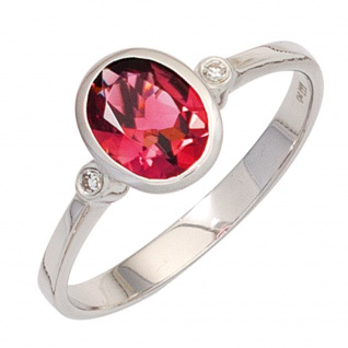 Damen Ring 585 Gold Weißgold 1 Turmalin rosa 2 Diamanten Weißgoldring