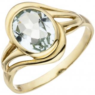 Damen Ring 585 Gold Gelbgold 1 Aquamarin hellblau blau Goldring