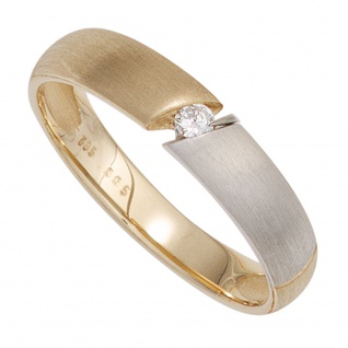 Damen Ring 585 Gold Gelbgold bicolor matt 1 Diamant Brillant 0, 05ct. Goldring