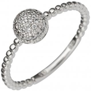 Damen Ring 585 Gold Weißgold 29 Diamanten Brillanten 0, 13ct. Weißgoldring