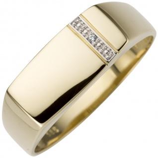 Herren Ring 0, 005ct 585 Gold Gelbgold 1 Diamant Brillant Herrenring