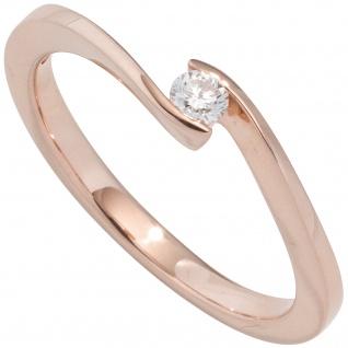 Damen Ring 585 Gold Rotgold 1 Diamant Brillant 0, 25ct. Diamantring Goldring
