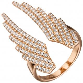 Damen Ring Flügel Engelsflügel 925 Sterling Silber rotgold vergoldet Zirkonia
