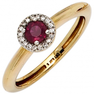 Damen Ring 585 Gold Gelbgold bicolor 1 Rubin rot 18 Diamanten Brillanten