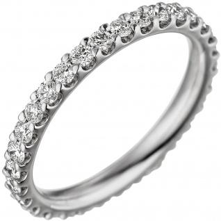 Damen Memory Ring 585 Gold Weißgold mit Diamanten Brillanten Memoryring Memoire