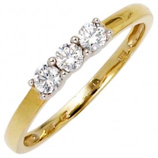 Damen Ring 333 Gold Gelbgold Weißgold bicolor 3 Zirkonia Goldring