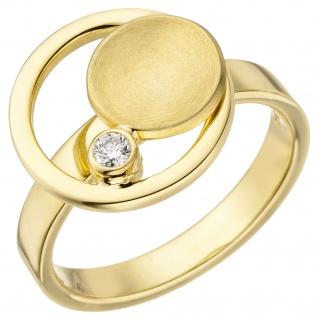 Damen Ring 585 Gold Gelbgold 1 Diamant Brillant 0, 06ct. Goldring