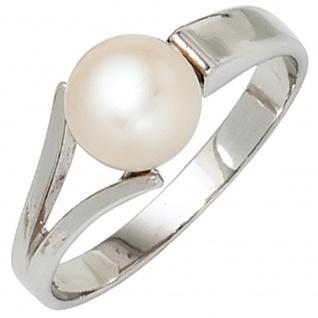Damen Ring 925 Sterling Silber rhodiniert 1 Süßwasser Perle Perlenring