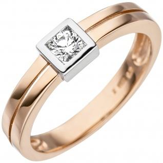Damen Ring 375 Gold Rotgold bicolor 1 Zirkonia Goldring