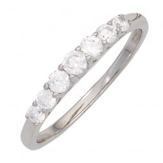 Damen Ring 925 Sterling Silber rhodiniert 7 Zirkonia Silberring