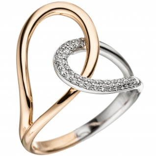 Damen Ring 585 Gold Rotgold Weißgold bicolor 36 Diamanten Brillanten Diamantring