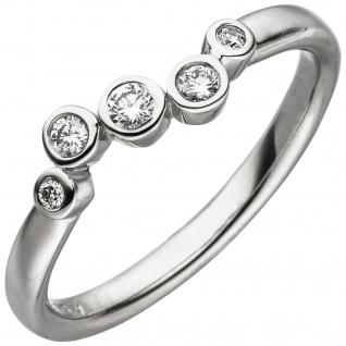 Damen Ring 585 Gold Weißgold 5 Diamanten Brillanten 0, 14ct. Diamantring - Vorschau