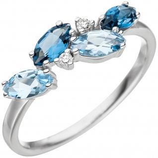 Damen Ring 585 Weißgold 4 Blautopase hellblau blau 2 Diamanten Brillanten