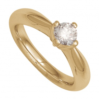 Damen Ring 585 Gold Gelbgold 1 Diamant Brillant 0, 15ct. Diamantring Goldring