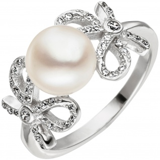 Damen Ring Schleife 925 Silber 1 Süßwasser Perle mit Zirkonia Perlenring