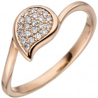 Damen Ring 585 Gold Rotgold 22 Diamanten Brillanten Diamantring Rotgoldring