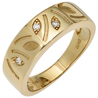 Damen Ring 585 Gold Gelbgold 3 Diamanten Brillanten 0, 04ct. Goldring Diamantring