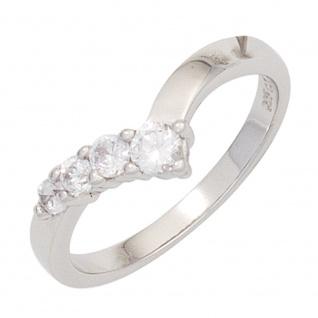 Damen Ring 925 Sterling Silber rhodiniert 4 Zirkonia Silberring