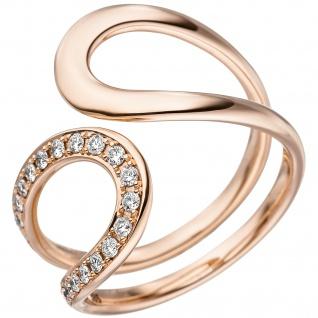 Damen Ring 585 Gold Rotgold 21 Diamanten Brillanten Rotgoldring Diamantring
