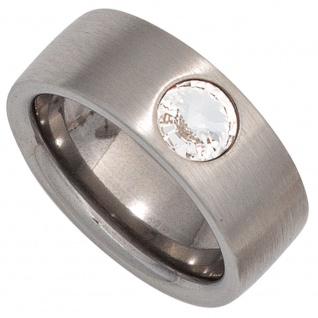 Damen Ring breit Edelstahl matt mit Kristallstein
