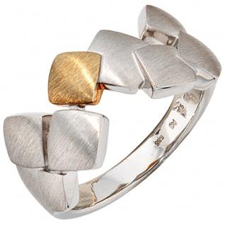 Damen Ring 925 Sterling Silber mit 585 Gold kombiniert rhodiniert matt