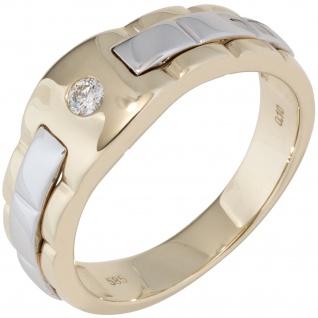 Herren Ring 585 Gold Gelbgold Weißgold bicolor 1 Diamant Brillant Herrenring
