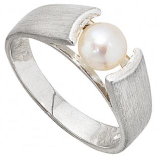 Damen Ring 925 Sterling Silber matt 1 Süßwasser Perle Silberring Perlenring