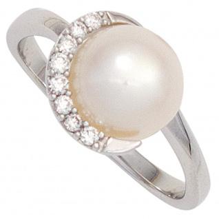 Damen Ring 585 Gold Weißgold 1 Süßwasser Perle 8 Diamanten Brillanten Goldring
