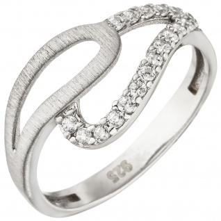 Damen Ring 925 Sterling Silber matt 18 Zirkonia Silberring