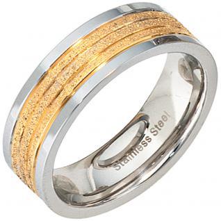 Partner Ring Edelstahl bicolor vergoldet mattiert