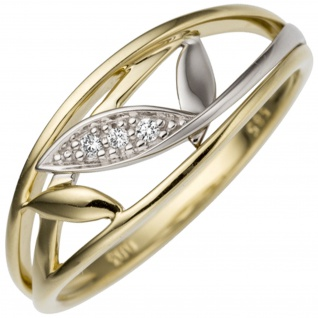 Damen Ring 585 Gold Gelbgold Weißgold bicolor 3 Diamanten Brillanten Goldring