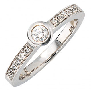 Damen Ring 585 Gold Weißgold 13 Diamanten Brillanten 0, 34ct. Weißgoldring