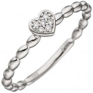 Damen Ring Herz 585 Gold Weißgold 6 Diamanten Brillanten Diamantring Herzring